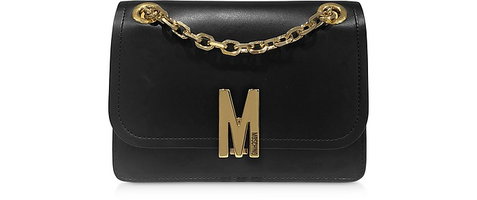 Black Smooth Leather Shoulder Bag - Moschino