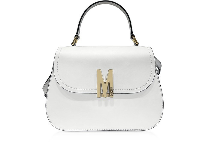 Smooth Leather Top-Handle Satchel Bag - Moschino