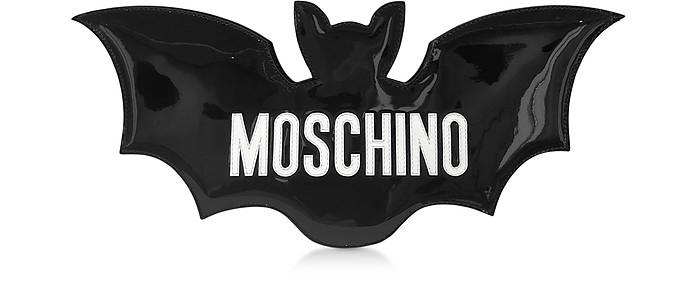 Black Patent Leather Signature Bat Clutch - Moschino
