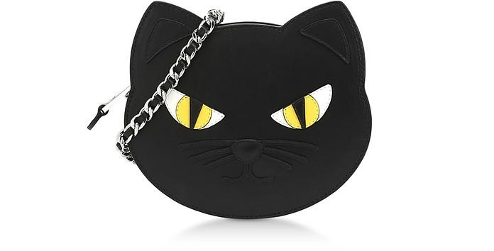 Cat Schultertasche aus schwarzem Kalbsleder - Moschino