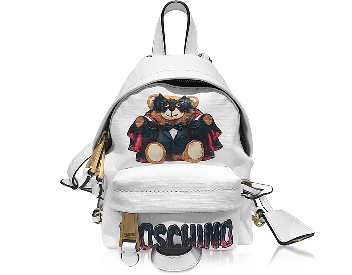 White Spooky Teddy Bear Mini Backpack - Moschino
