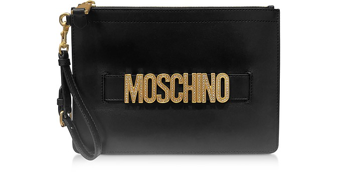 Black Smooth Leather Clutch with Crystals Logo - Moschino