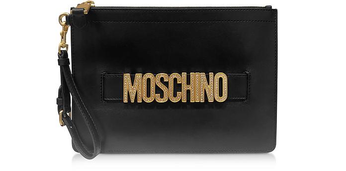 Clutch en Cuir Lisse Noir avec Logo Cristal - Moschino