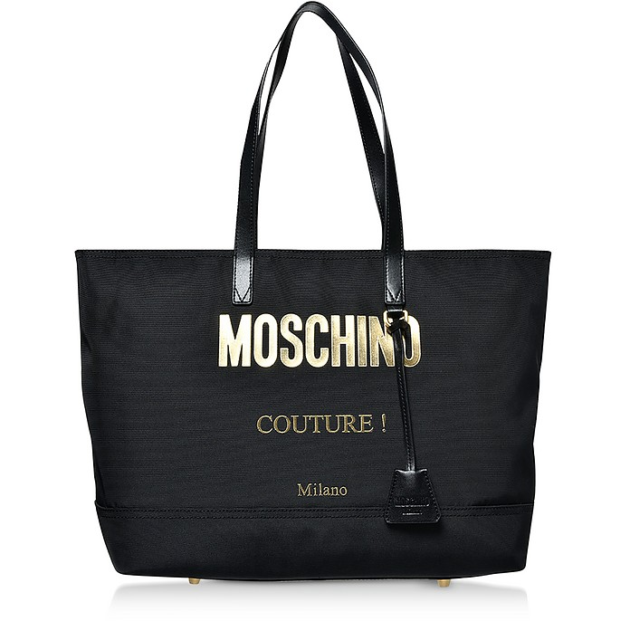 Black Nylon Signature Couture Tote Bag - Moschino
