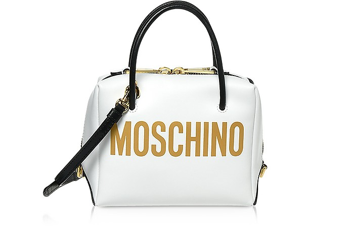 White Leather Signature Satchel Bag - Moschino