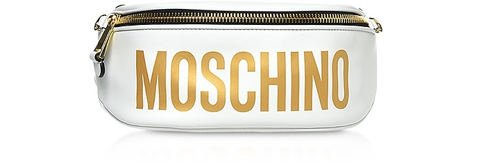 White Leather Signature Belt Bag - Moschino