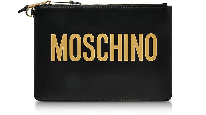 Moschino Clutch Black Leather Signature Clutch