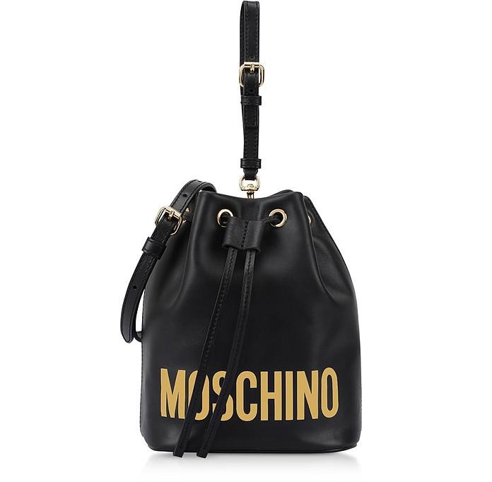 Black Leather Signature Bucket Bag - Moschino