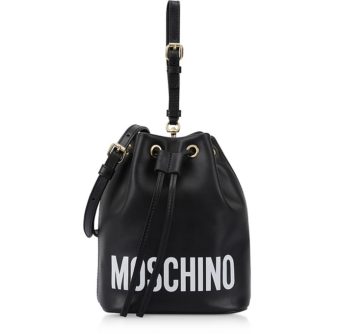Black Leather Signature Bucket Bag - Moschino