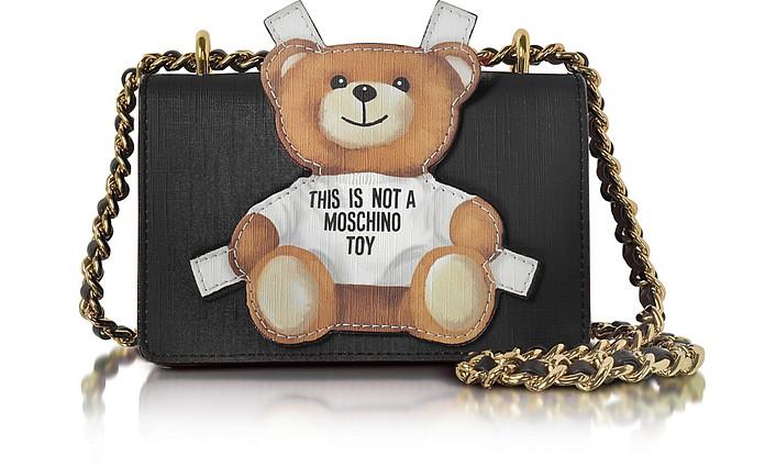 6fe48441bacbd Moschino Teddy Bear Black Saffiano Leather Shoulder Bag at FORZIERI ...
