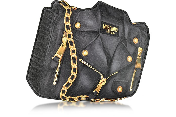 Black Biker Jacket Printed Leather Clutch - Moschino