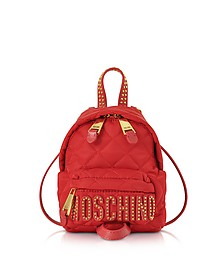 Red Quilted Nylon Mini Backpack w/Studs  - Moschino