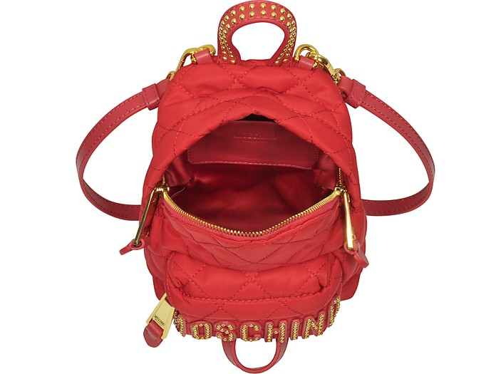Moschino Red Quilted Nylon Mini Backpack w Studs at FORZIERI Canada 229020661818d