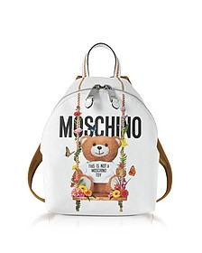 Teddy Bear White Eco Leather Backpack - Moschino