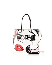 Crying Comic Girl White Leather Tote Bag w/Shoulder Strap - Moschino