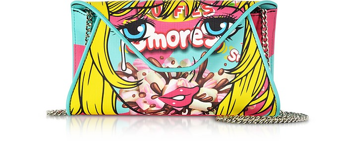 Smores Comic Girl Turquoise Eco Leather Envelope Clutch w/Chain Strap - Moschino