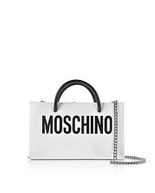 White Leather Crossbody Bag w/Signature Logo - Moschino