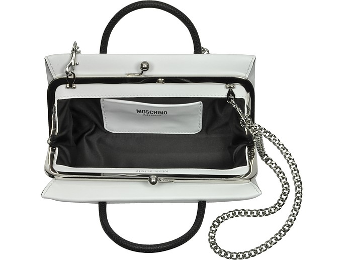 White Leather Crossbody Bag w/Signature Logo Moschino ZyxofGBMr