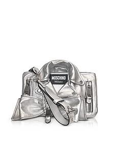 Silver Metallic Leather Biker Jacket Clutch - Moschino