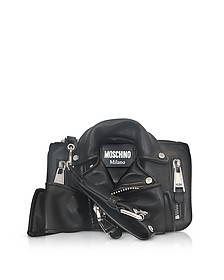 Black Leather Biker Jacket Clutch - Moschino