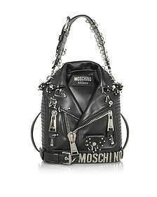 Black Leather Biker Jacket Backpack w/Piercings - Moschino