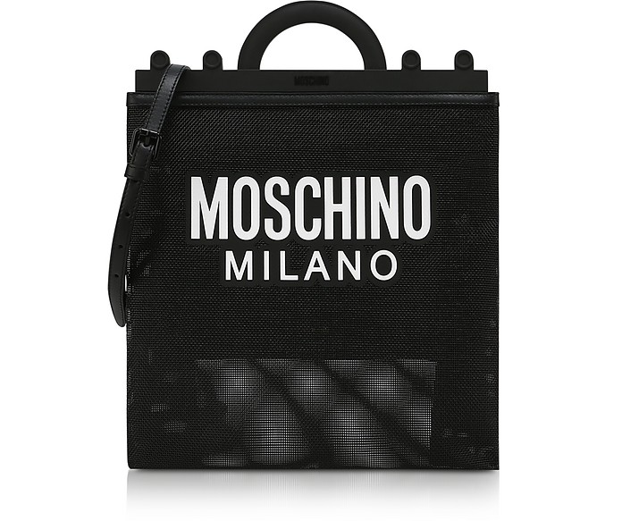 Black Mesh Logo Shopper Bag - Moschino