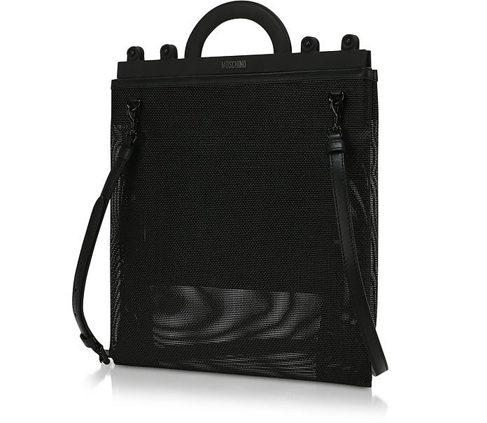 ecf417b94 Moschino Black Mesh Logo Shopper Bag at FORZIERI