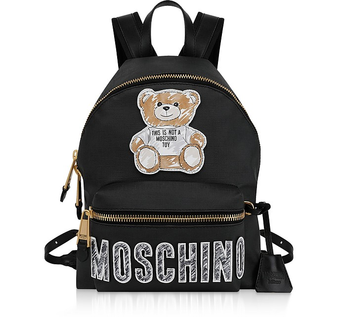 Black Teddy Bear Brushstroke Signature Medium Backpack - Moschino