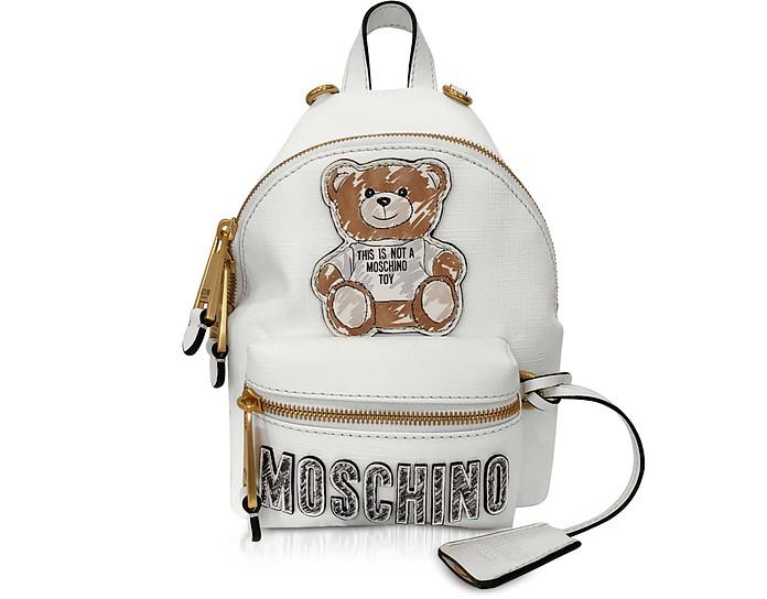 White Teddy Bear Brushstroke Signature Mini Backpack - Moschino
