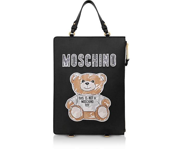 Black Teddy Bear Brushstroke Signature Backpack/Tote Bag - Moschino