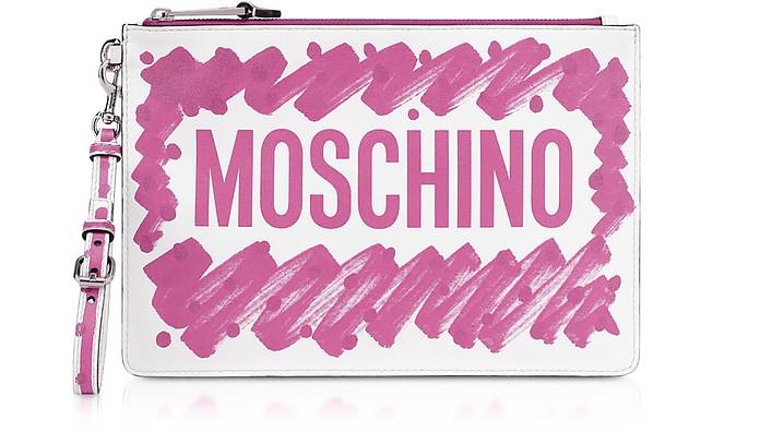 Brushstroke Signature Clutch - Moschino
