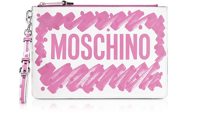Brushstroke Signature Clutch - Moschino
