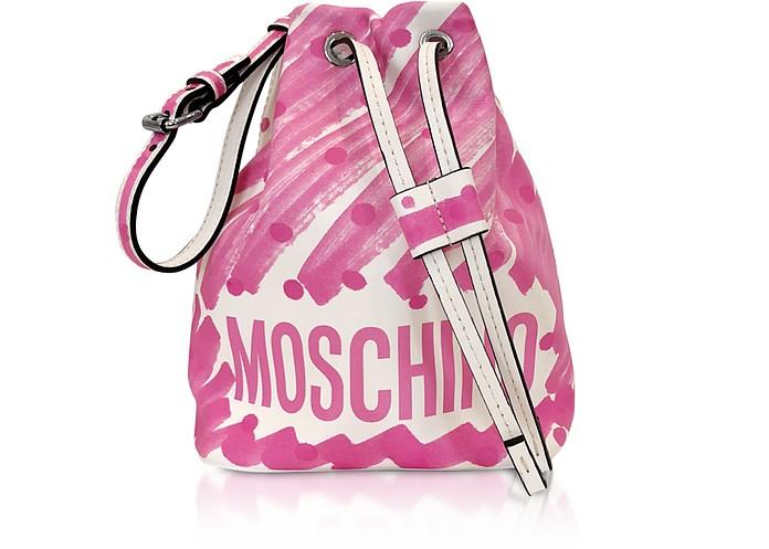 Brushstroke Signature Bucket Bag - Moschino