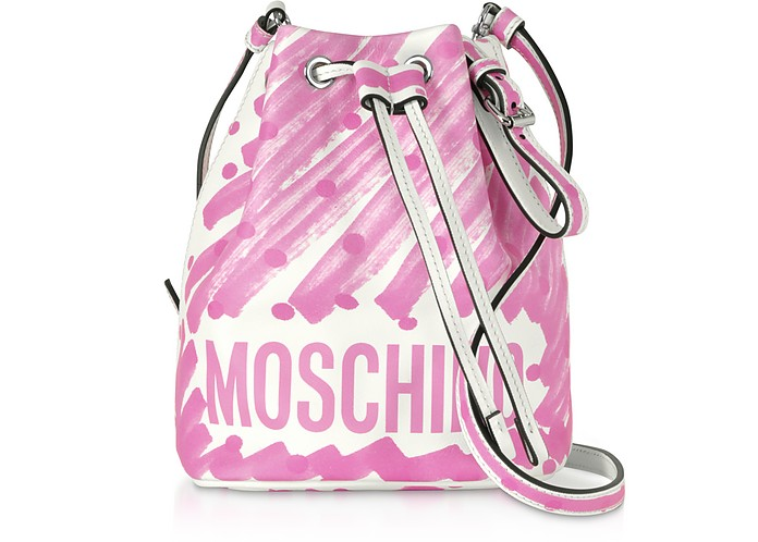 Brushstroke Signature Bucket Bag - Moschino