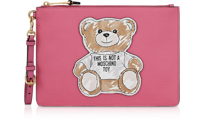 Fuchsia Teddy Brushstroke Signature Clutch - Moschino