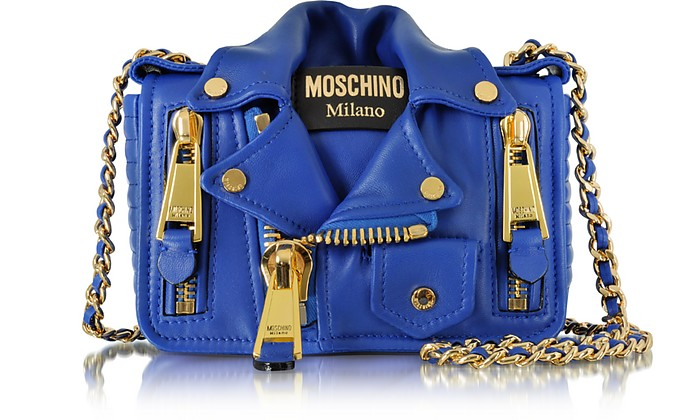 Blue Nappa Leather Biker Jacket Shoulder Bag - Moschino