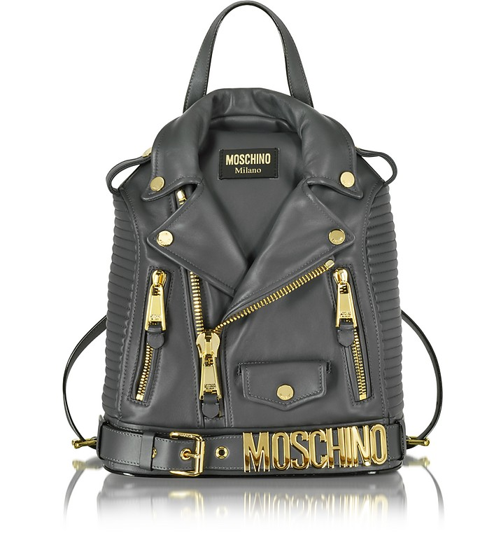 Dark Gray Nappa Leather Backpack - Moschino
