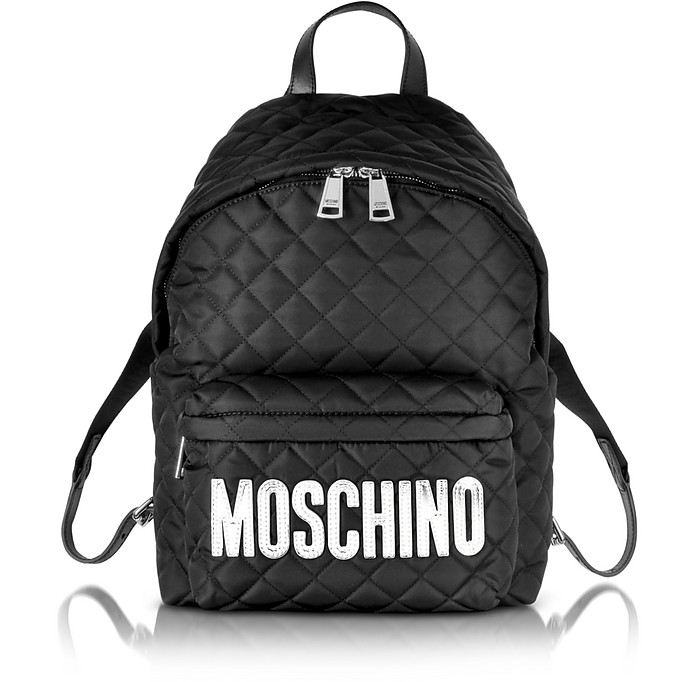 Black Quilted Nylon Medium Backpack w/Silver Logo - Moschino