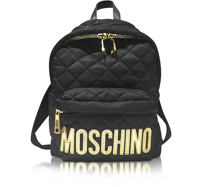 Black Quilted Nylon Small Backpack w/Golden Logo - Moschino