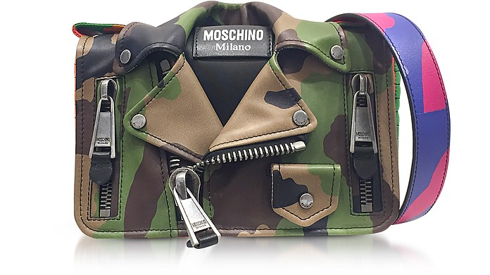 20d5506975a22f Moschino Camo Biker Jacket Printed Leather Shoulder Bag at FORZIERI