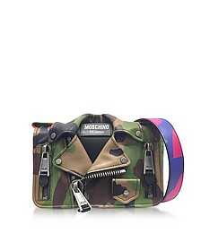 Camo Biker Jacket Printed Leather Shoulder Bag - Moschino