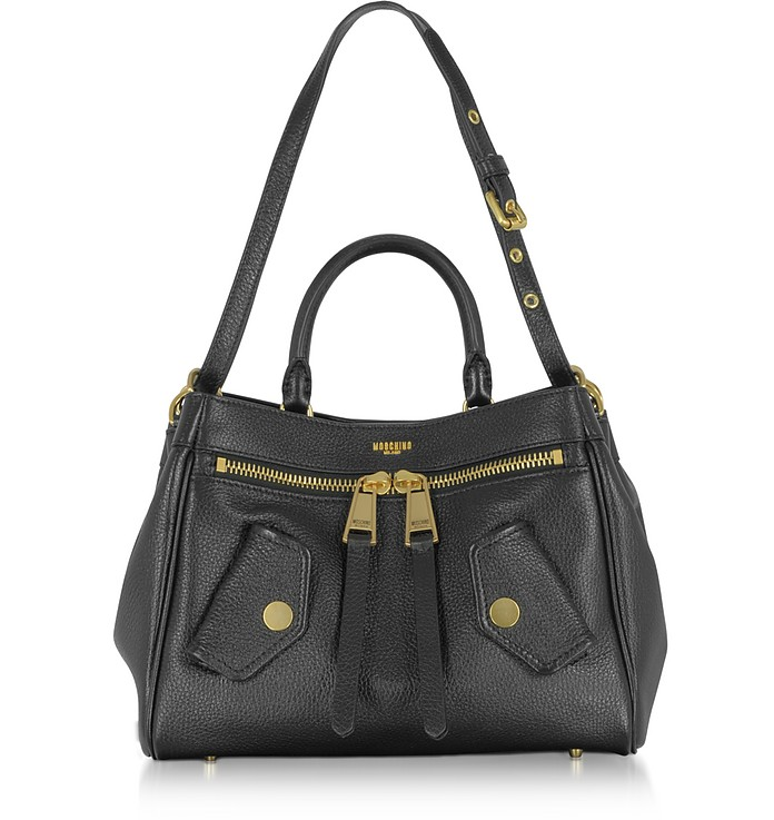 Black Leather Satchel Bag - Moschino