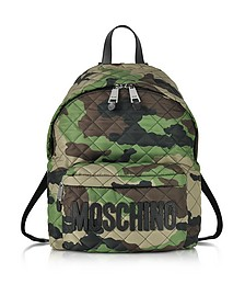 Camo Quilted Nylon Backpack w/Logo - Moschino