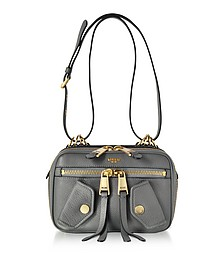 Dark Gray Leather Shoulder Bag - Moschino