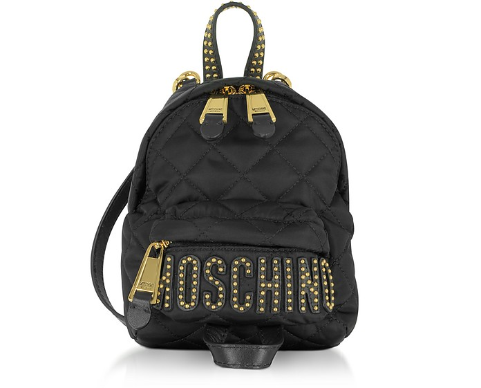 offer discounts catch enjoy big discount Black Quilted Nylon Mini Backpack w/Studs