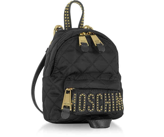 Moschino Black Quilted Nylon Mini Backpack w Studs at FORZIERI UK 0dc5b4cf332a4