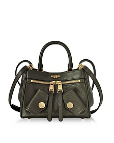Olive Green Grained Leather Mini Shoulder Bag - Moschino