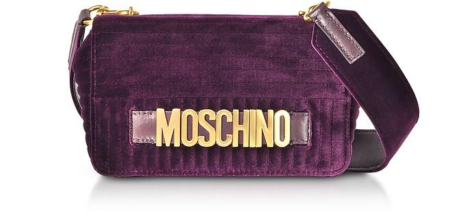 Purple Velvet Signature Shoulder Bag - Moschino