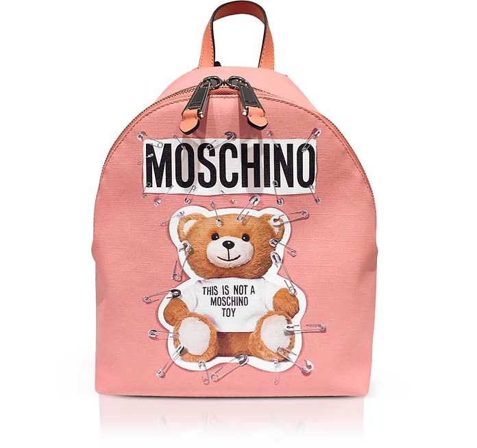 Safety Pin Teddy Small Backpack in Pink