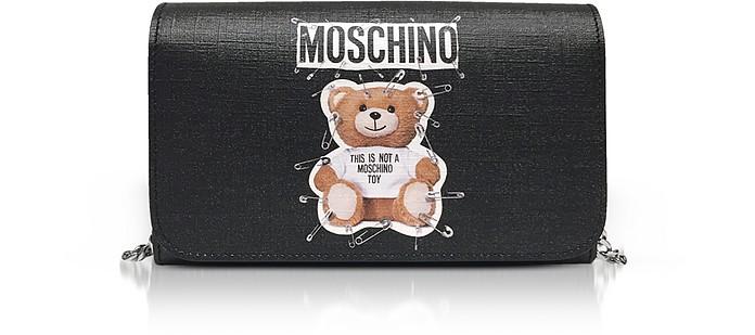 Teddy Bear Black Wallet Clutch - Moschino